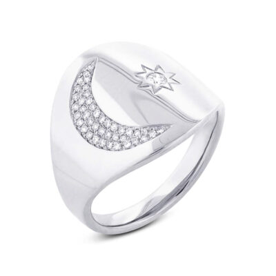 0.16ct 14k White Gold Diamond Sun Moon Ring SC55002105 400x400 - 0.16ct 14k White Gold Diamond Sun & Moon Ring SC55002105