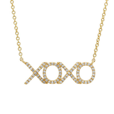 "0.19ct 14k Yellow Gold Diamond XOXO Pendant SC55001124 400x400 - 0.19ct 14k Yellow Gold Diamond ""XOXO"" Pendant SC55001124"