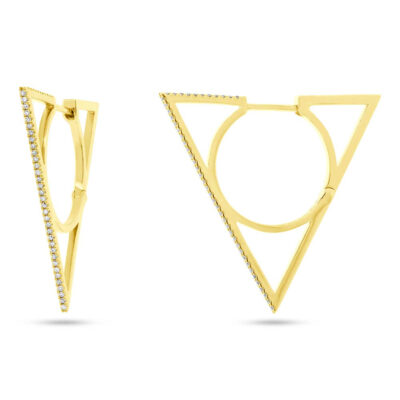 0.21ct 14k Yellow Gold Diamond Triangle Earring SC55003932 400x400 - 0.21ct 14k Yellow Gold Diamond Triangle Earring SC55003932