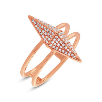 0.22ct 14k Rose Gold Diamond Pave Pyramid Ring SC55002081 400x400 - 0.22ct 14k Rose Gold Diamond Pave Pyramid Ring SC55002081