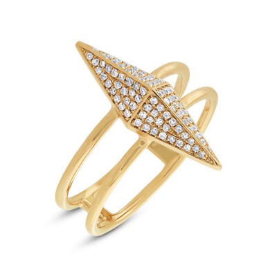 0.22ct 14k Yellow Gold Diamond Pave Pyramid Ring SC55002080 400x400 - 0.22ct 14k Yellow Gold Diamond Pave Pyramid Ring SC55002080