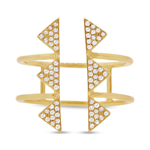 0.22ct 14k Yellow Gold Diamond Pave Triangle Ring SC55001308 1 500x500 - 0.22ct 14k Yellow Gold Diamond Pave Triangle Ring SC55001308
