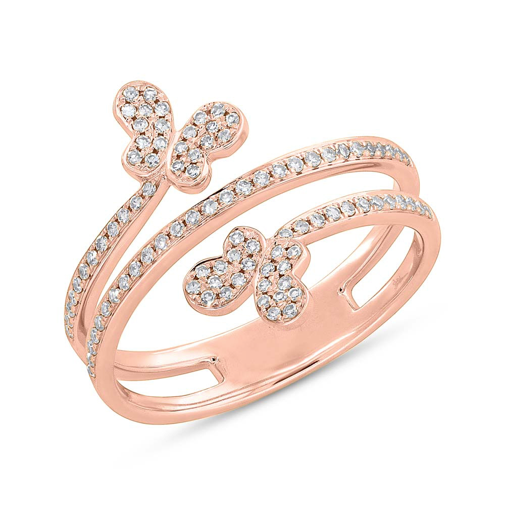 4a6ce446c0686 0.25ct 14k Rose Gold Diamond Butterfly Ring SC55005311