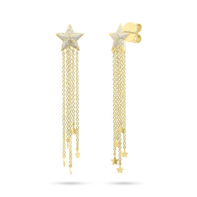 0.27ct 14k Yellow Gold Diamond Star Fringe Earring SC55006782 400x400 - 0.27ct 14k Yellow Gold Diamond Star Fringe Earring SC55006782