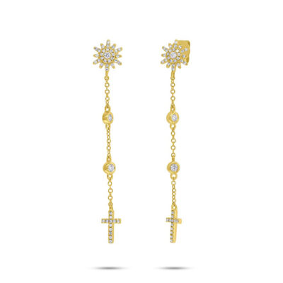 0.29ct 14k Yellow Gold Diamond Cross Earring SC55006518 400x400 - 0.29ct 14k Yellow Gold Diamond Cross Earring SC55006518