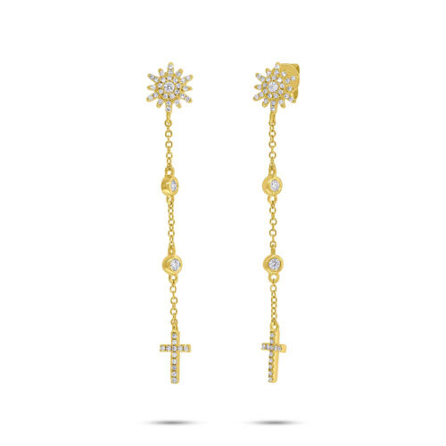 0.29ct 14k Yellow Gold Diamond Cross Earring SC55006518 500x500 - 0.29ct 14k Yellow Gold Diamond Cross Earring SC55006518