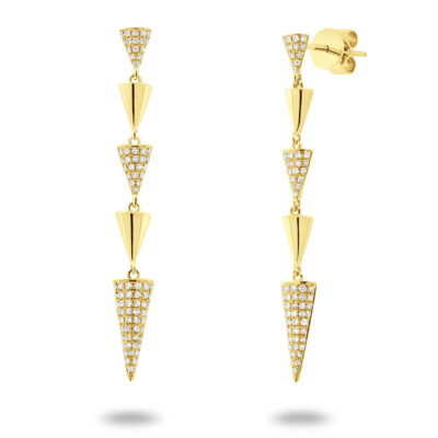 0.38ct 14k Yellow Gold Diamond Pave Pyramid Earring SC55004546 400x400 - 0.38ct 14k Yellow Gold Diamond Pave Pyramid Earring SC55004546