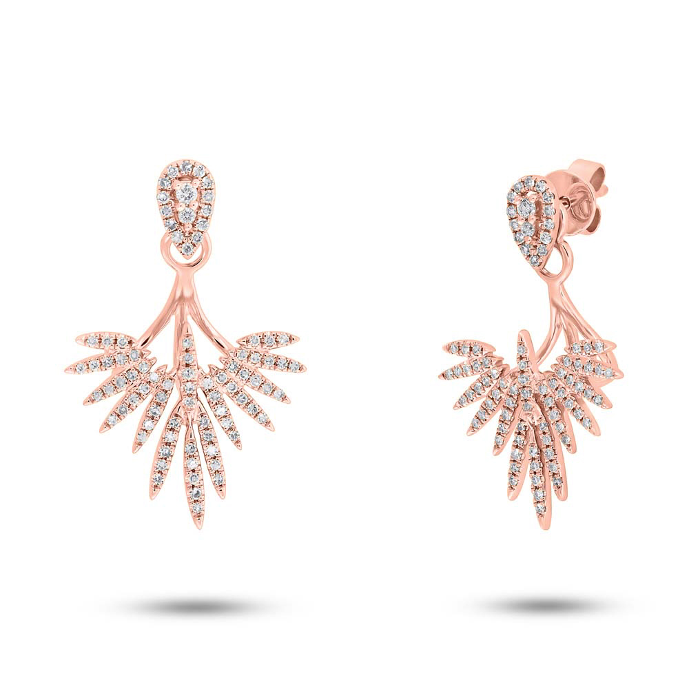 0 44ct 14k Rose Gold Diamond Ear Jacket Earring With Studs Sc55005276