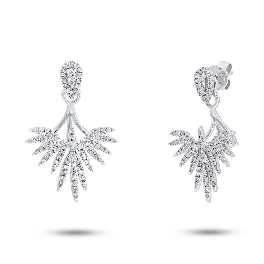 0 44ct 14k White Gold Diamond Ear Jacket Earring With Studs Sc55005274