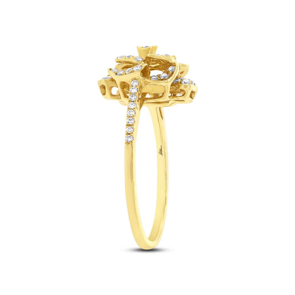 046ct 14k Yellow Gold Diamond Flower Ring Co27112639 Bova Diamonds