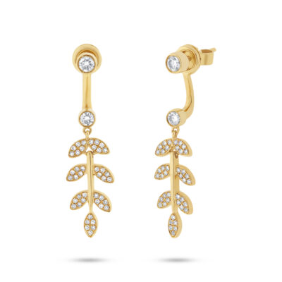 0.47ct 14k Yellow Gold Diamond Leaf Ear Jacket Earring with Studs SC55001780 400x400 - 0.47ct 14k Yellow Gold Diamond Leaf Ear Jacket Earring with Studs SC55001780