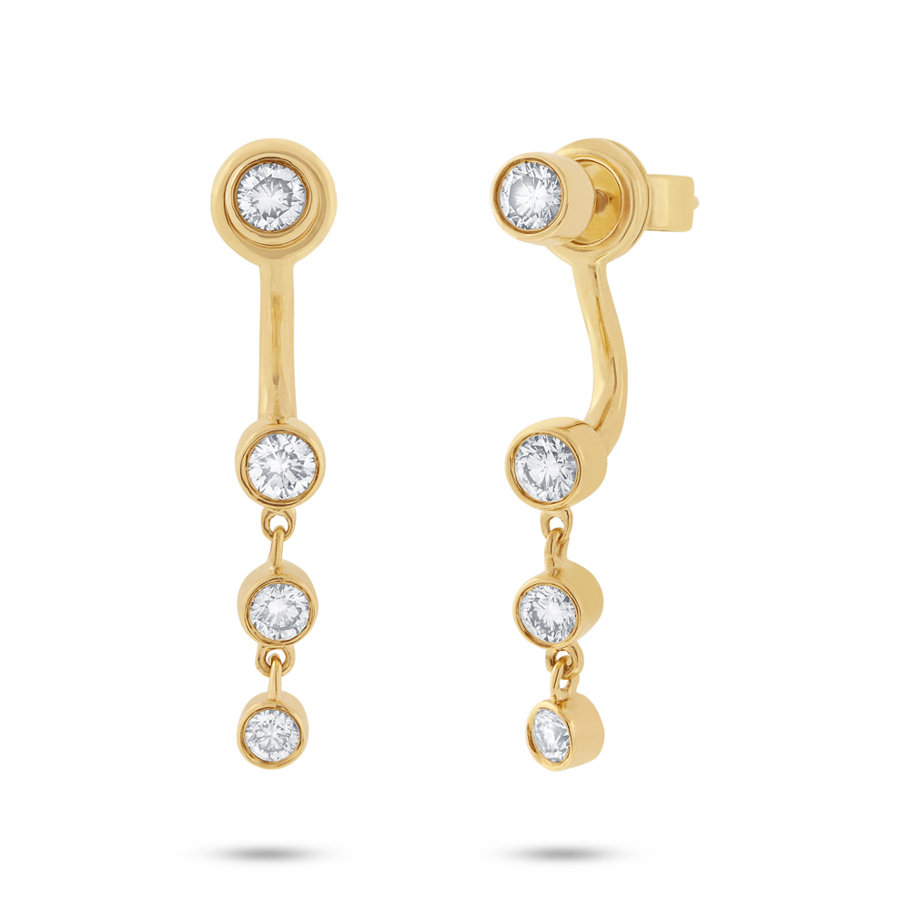 0 51ct 14k Yellow Gold Diamond Ear Jacket Earring With Studs Sc55001783