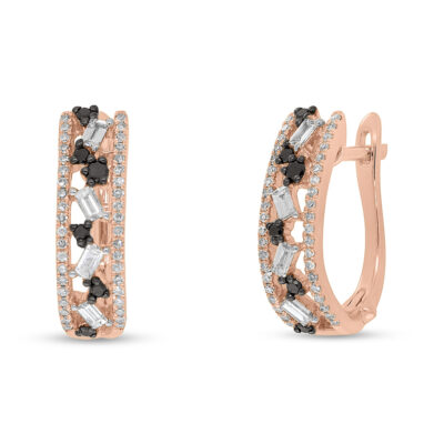 0.51ct White and Black Diamond Baguette 14k Rose Gold Huggie Earring SC36213558 400x400 - 0.51ct White and Black Diamond Baguette 14k Rose Gold Huggie Earring SC36213558