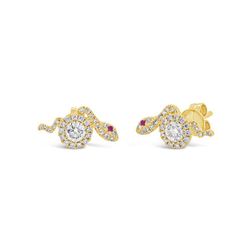 0.61ct Diamond 0.02ct Ruby 14k Yellow Gold Snake Stud Earring SC55007231 500x500 - 0.61ct Diamond & 0.02ct Ruby 14k Yellow Gold Snake Stud Earring SC55007231