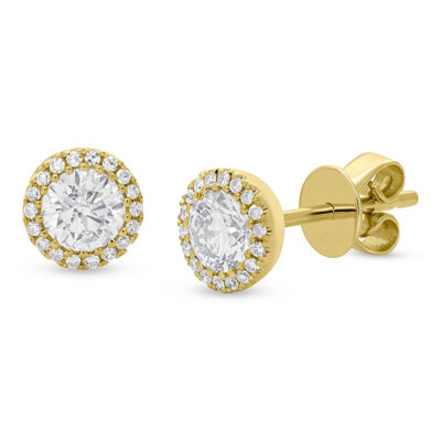 0.80ct Round Brilliant Center and 0.10ct Side 14k Yellow Gold Diamond Stud Earring SC55005504 400x400 - 0.80ct Round Brilliant Center and 0.10ct Side 14k Yellow Gold Diamond Stud Earring SC55005504