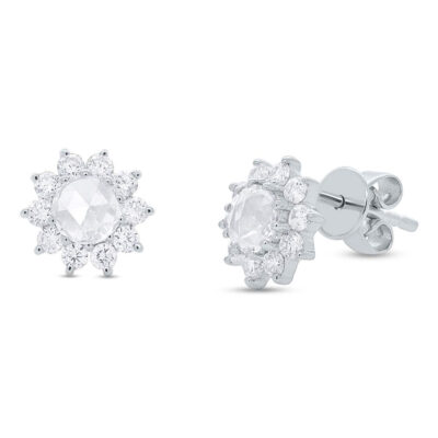 0.91ct 14k White Gold Diamond Flower Rose Cut Stud Earring SC55005783 400x400 - 0.91ct 14k White Gold Diamond Flower Rose Cut Stud Earring SC55005783