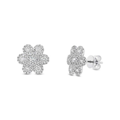 0.95ct 14k White Gold Diamond Flower Stud Earring SC55003100 400x400 - 0.95ct 14k White Gold Diamond Flower Stud Earring SC55003100