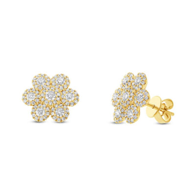 0.95ct 14k Yellow Gold Diamond Flower Stud Earring SC55003101 400x400 - 0.95ct 14k Yellow Gold Diamond Flower Stud Earring SC55003101
