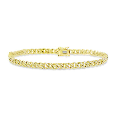0.96ct 14k Yellow Gold Diamond Pave Chain Bracelet SC55004830 400x400 - 0.96ct 14k Yellow Gold Diamond Pave Chain Bracelet SC55004830