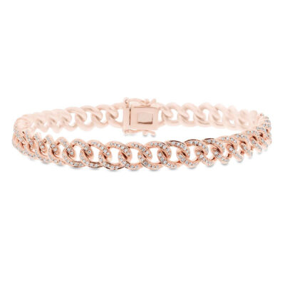 0.98ct 14k Rose Gold Diamond Pave Chain Bracelet SC55004680Z6.5 400x400 - 0.98ct 14k Rose Gold Diamond Pave Chain Bracelet SC55004680Z6.5