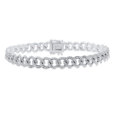 0.98ct 14k White Gold Diamond Pave Chain Bracelet SC55004678Z6.5 1 400x400 - 0.98ct 14k White Gold Diamond Pave Chain Bracelet SC55004678Z6.5