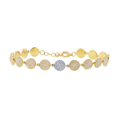 1.33ct 14k Two tone Gold Diamond Pave Circle Bracelet SC55001923V2 400x400 - 1.33ct 14k Two-tone Gold Diamond Pave Circle Bracelet SC55001923V2