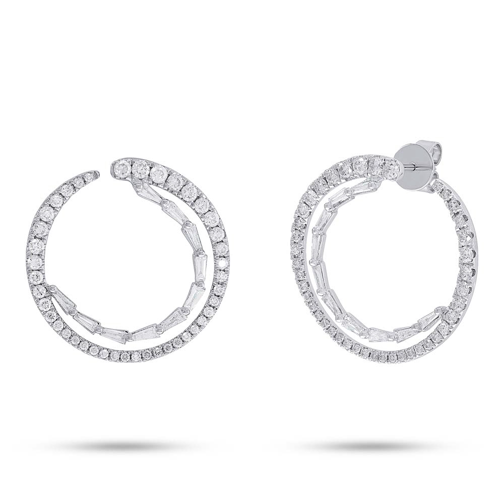 earrings baguette p round leaf wh diamond