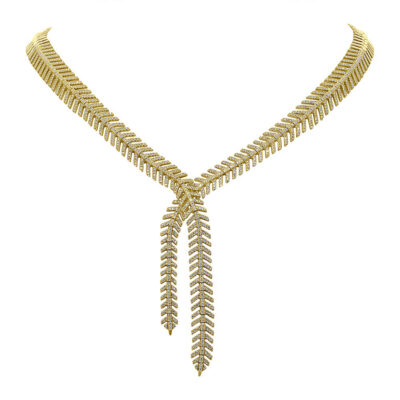2.66ct 14k Yellow Gold Diamond Feather Lariat Necklace SC55005657 400x400 - 2.66ct 14k Yellow Gold Diamond Feather Lariat Necklace SC55005657