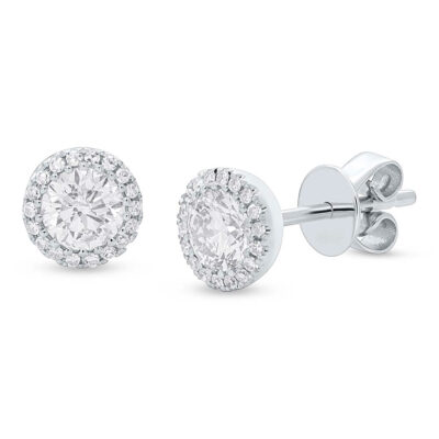 z sc55005503 400x400 - 0.80ct Round Brilliant Center and 0.10ct Side 14k White Gold Diamond Stud Earring SC55005503